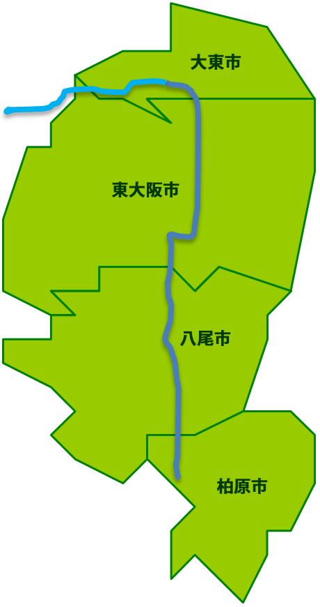 寝屋川・恩智川流域図